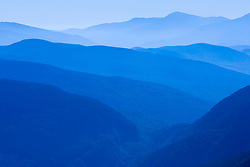 The view to the west from the summit of Old Speck Mountain in Maine's Grafton Notch State Park.  Mahoosuc Notch is in the foreground.  Mount Washington is in the distance.
