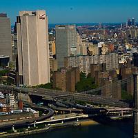 AErial views of the Brooklyn and Williamsburg Bridge