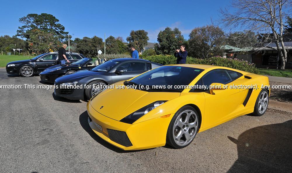 2005 Lamborghini Gallardo Giallo Midas Yellow 2007 Audi R8 Daytona Grey Supercar Club