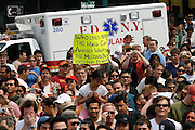 NEW YORK, NY-06 JUL04-- Crowds surrround Nathan's Famous Delicatessen as they wait for the event to begin. (Extra) The Gazette/Liam Maloney