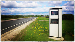Traffic speed control camera by highway in Estonia.