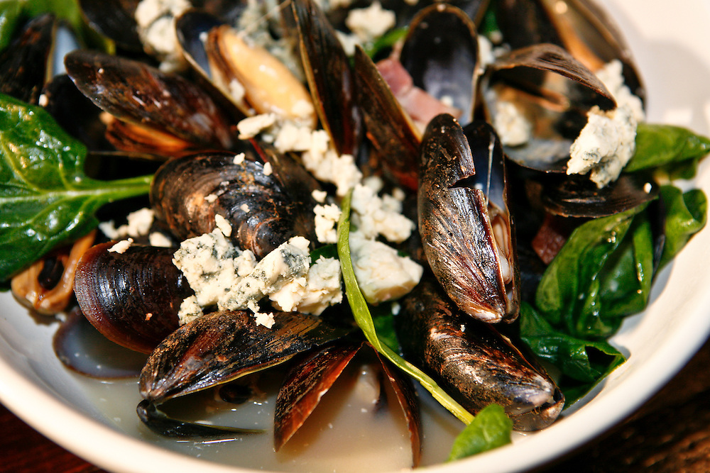 Moules and frite at Granville Moore's prepared by Teddy Folkman with blue cheese.