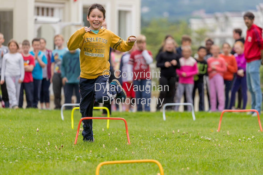 Repro Free no charge for Repro<br /> <br /> 15-6-16<br /> <br /> DERVAL O&rsquo;ROURKE CELEBRATES WITH WINNING MOO CREW SCHOOLS FROM DONEGAL &amp; LONGFORD<br />  <br /> Derval O&rsquo;Rourke, the well-known sprint hurdler who is a World Indoor Champion, multiple European medallist and three time Olympian, was in Dublin today (15th June, 2016) to celebrate with the top winning primary school children in the National Dairy Council&rsquo;s Moo Crew &ndash; Primary Dairy Moovement.<br /> Moo Crew is a fun and interactive way for children to learn about the benefits of a healthy, balanced diet and the importance of exercise &ndash; to &lsquo;get moo-ving&rsquo;.  It is supported by the NDC in light of research that showed 37% of girls and 28% of boys aged from 5 &ndash; 12 years in Ireland had inadequate calcium intakes in their diet.<br />  <br /> The top classes in the Junior Category and Senior Category of the NDC&rsquo;s national competition each won a sports equipment pack worth &euro;1,000 for their school and the day out in Airfield Farm in Dublin, with Olympic star Derval O&rsquo;Rourke.  The overall national winners of Moo Crew for 2016 are:<br /> &middot;         National Winners, Junior Category - Junior Class, Little Angels Special School, Letterkenny, Co. Donegal (Junior class Teacher Mr. Daire Diver)<br /> &middot;         National Winners, Senior Category - 4th &amp; 5th Class, Sacred Heart Primary School, Granard, Co Longford (Teachers Ms. Carmel Shaughnessy and Ms. Grace McGauran)<br /> <br /> Milly, the Moo Crew Mascot cow, joined in the action packed day which included milking cows, farmyard experiences and butter making; as well as activities such as bug hunting and woodland walks.  Further details and information about county winners at www.ndc.ie.<br />  <br /> Pictured at Airfield Farm was Ryan Murray aged 9 from the Sacred Heart Primary School, Granard, Co Longford.<br /> Picture Dylan Vaughan