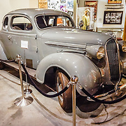 "The car from the film High Sierra (1941) is a 1937 Plymouth Coupe (loaned from the James E Rogers Collection), displayed at the Museum of Western Film History, 701 S. Main Street, Lone Pine, California, 93545, USA. In the climactic movie sequence, ""Mad Dog"" Earle, played by Humphrey Bogart, flees from police by accelerating the Plymouth Coupe up scenic Whitney Portal Road. Web site: www.lonepinefilmhistorymuseum.org"