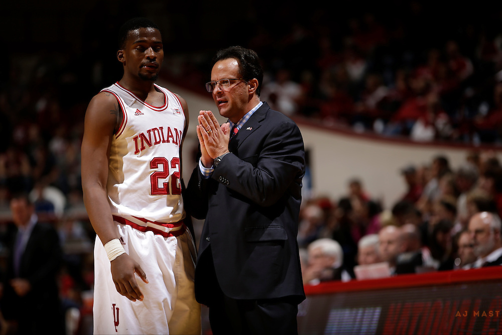 Indiana head coach Tom Crean and Indiana guard Stanford Robinson (22) as Grand Canyon played Indiana in an NCAA college basketball game in Bloomington, Ind., Saturday, Dec. 13, 2014. (AJ Mast/Photo)