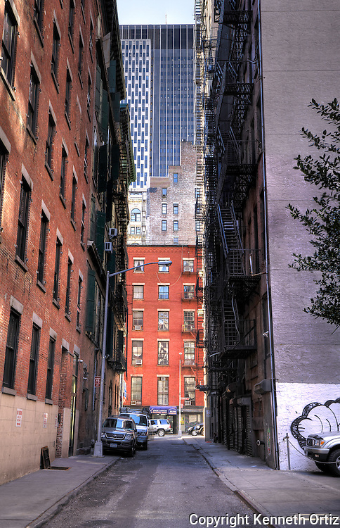 White street downtown Manhattan looking south.