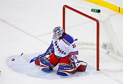 April 9, 2008; Newark, NJ, USA;  New York Rangers goalie Henrik Lundqvist (30) during the first period of game 1 of the Eastern Conference Quarterfinal playoffs at the Prudential Center in Newark, NJ.