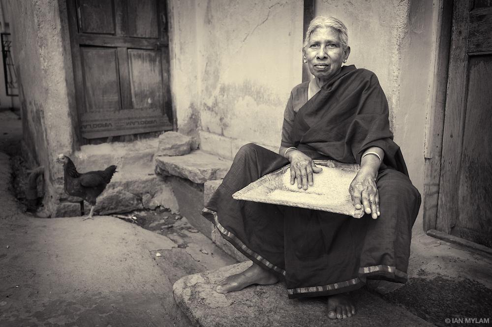Woman and Hen - Bangalore, India
