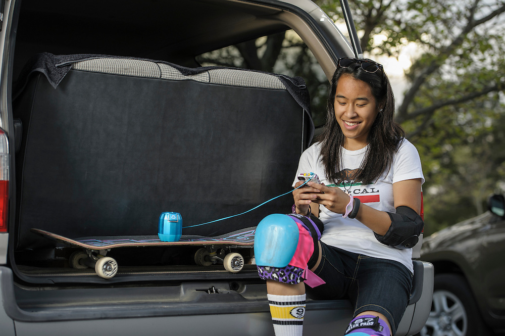 Evelyn May Abad gearing up for her skate session.