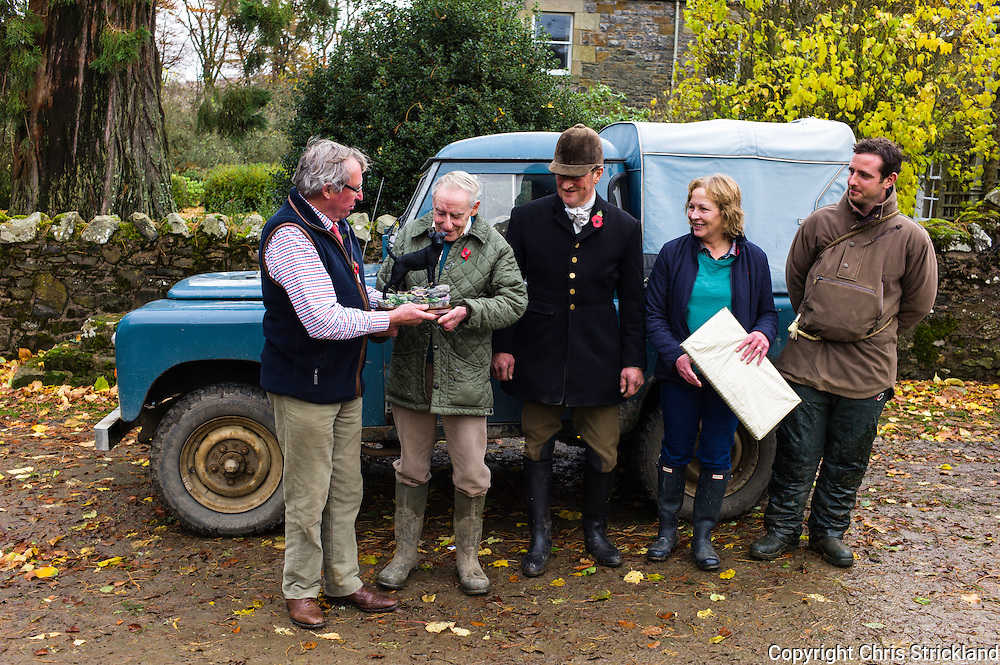 Hindhope, 10th December 2015. The Border Hunt thanks Tim Elliot and family for his 44 years of service as Hunt Chairman at his farm in the Scottish Borders.