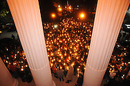"A crowd participates in a candlelit vigil titled ""We Are One Mississippi"" at the University of Mississippi in Oxford, Miss. on Wednesday, November 7, 2012.The vigil was in response to protests that happened on campus after President Barack Obama was re-elected.(AP Photo/Oxford Eagle, Bruce Newman)"