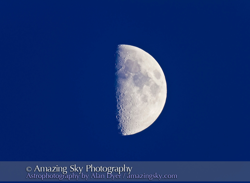 This is the first quarter Moon, taken Jan 1, 2012, in evening twilight. This was shot with the Synta Sky-Watcher Esprit 120 apo refractor (under test) at f/7 and the Canon 7D camera at ISO 100 with no field flattener.