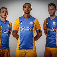 Pictures show the New third kit launch with Joe Garner, Paul Gallagher and Jermaine Beckford at the Deepdale Stadium in Preston.<br />