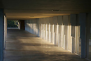 Walkway along the Polk County Science Building designed by architect Frank Lloyd Wright on the campus of Florida Southern College in Lakeland, Florida. The building was completed in 1958.