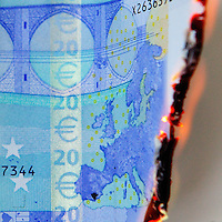 Europe burning (from the direction of Greece) on a twenty Euro note.