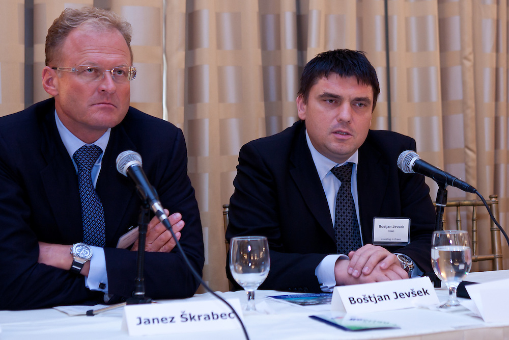 Business leaders in New York City attend presentations by Slovenia companies and government agencies. The Investing in Green was photographed by Jeffrey Holmes at the 3 West Club in New York, NY on September 24, 2010.