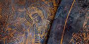 Gold decoration detail beside Buddha, Diabutsu, inside Todaiji Temple, Nara, Japan.