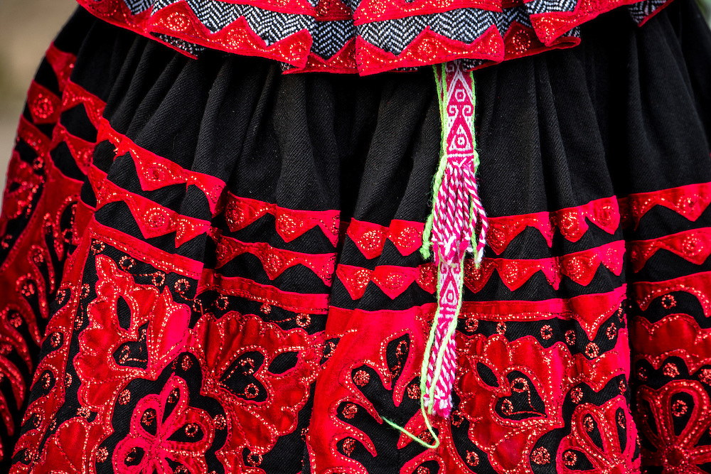 South America,Peru, Arequipa, detail of a traditional native skirt
