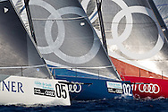 SPAIN, Barcelona. 14th September 2011. AUDI MedCup, Conde de Godo Barcelona Trophy. TP52s L-R CONTAINER, Audi Azzurra Sailing Team and Audi Sailing Team powered by ALL4ONE.