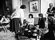 Mrs William Shannon, wife of the American Ambassador to Ireland (centre, wearing a Galway shawl), hosts a group of Galway travelling people for afternoon tea at her residence in the Phoenix Park, Dublin. Included are Rose Corcoran, Ann Sherlock, Brigid McDonagh and Ann Ward.<br />1 April 1981