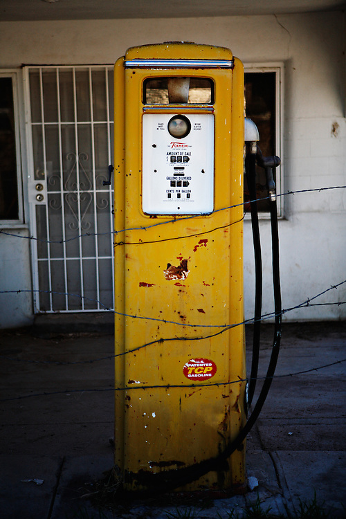 An old gas pump near the village of Chimayo, New Mexico.