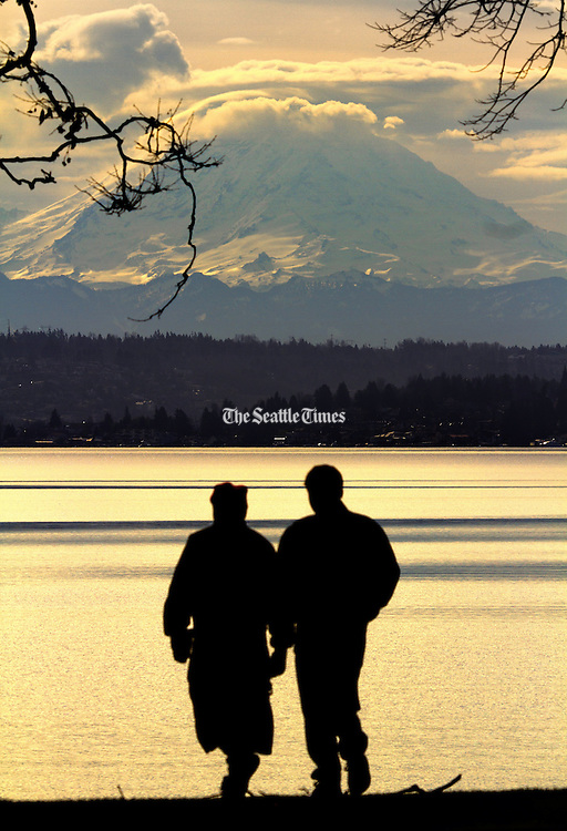 Mt. Rainier looms behind the south end of Lake Washington in this view from Seward Park. <br /> <br /> Mike Siegel / The Seattle Times