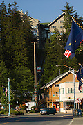 Ketchikan is the fifth-largest city in terms of population in the U.S. state of Alaska. in Ketchikan Gateway Borough, Ketchikan's economy is based upon tourism and fishing and the city is known as the &quot;King Salmon Capital of the World.&quot; The Misty Fjords National Monument is one of the area's major attractions.<br /> Ketchikan is named after Ketchikan Creek, which flows through the town. Ketchikan comes from the Tlingit name for the creek, Kitschk-hin, which means &quot;spread wings of a prostrate eagle&quot;, which is said to refer to an outlined likeness of this image created by some nearby stream's course. Ketchikan also has the world's largest collection of standing totem poles located at three major locations: Saxman Village, Totem Bight, and the Totem Heritage Center.<br /> <br /> Cape Fox hotel and Tramway.