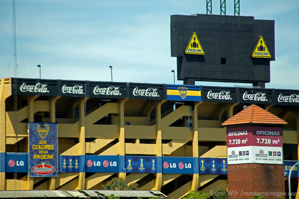 South America, Argentina, Buenos Aires. La Boca football stadium, La Bombonera, home to Boca Juniors Football Club. This is the only place where Coca Cola approved the brand to be advertised in black and white instead of trademark colors of red and white.