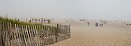 Ponquogue Beach, Hampton Bays, New York, South Fork, Long Island, Foggy Day, Volley Ball, panorama