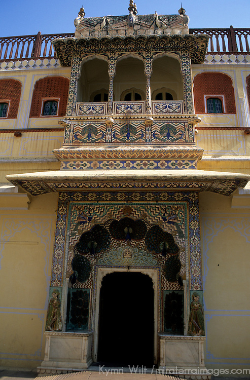 Asia, India, Jaipur. The peacock gate at Jaipur Palace.
