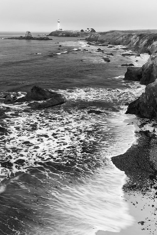 Pigeon Point Lighthouse And Shoreline Distant View - Black & White