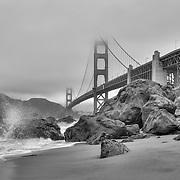 Golden Gate Bridge - Marshall's Beach Crashing Wave - Black & White