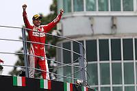 Sebastian Vettel  festeggia sul podio di Monza  - Ferrari  -  Formula 1 - Monza 04.09.2016 - Gran Premio d'Italia