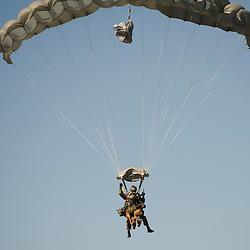 D&eacute;monstrations du Peloton de Soutien Cynotechnique Sud &agrave; l'occasion des Journ&eacute;es Portes Ouvertes du 13&egrave;me R&eacute;giment de Dragons Parachutiste au camp de Souge.<br /> Saut en parachute-tandem d'&eacute;quipes cynophiles, exercices d'ob&eacute;issance et d&eacute;monstration du travail des chiens de guerre.<br /> Septembre 2014 / Martignas sur Jalle (33) / FRANCE