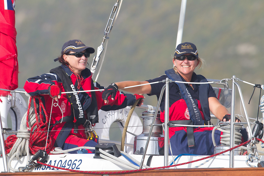 Caro Vita sailed by the all-female crew of Jo Ivory and Steffi Waanders prior at the Wellington restart of Round North Island two-handed yacht race. Wellington, New Zealand. 2 March 2011. Photo: Gareth Cooke/Subzero Images