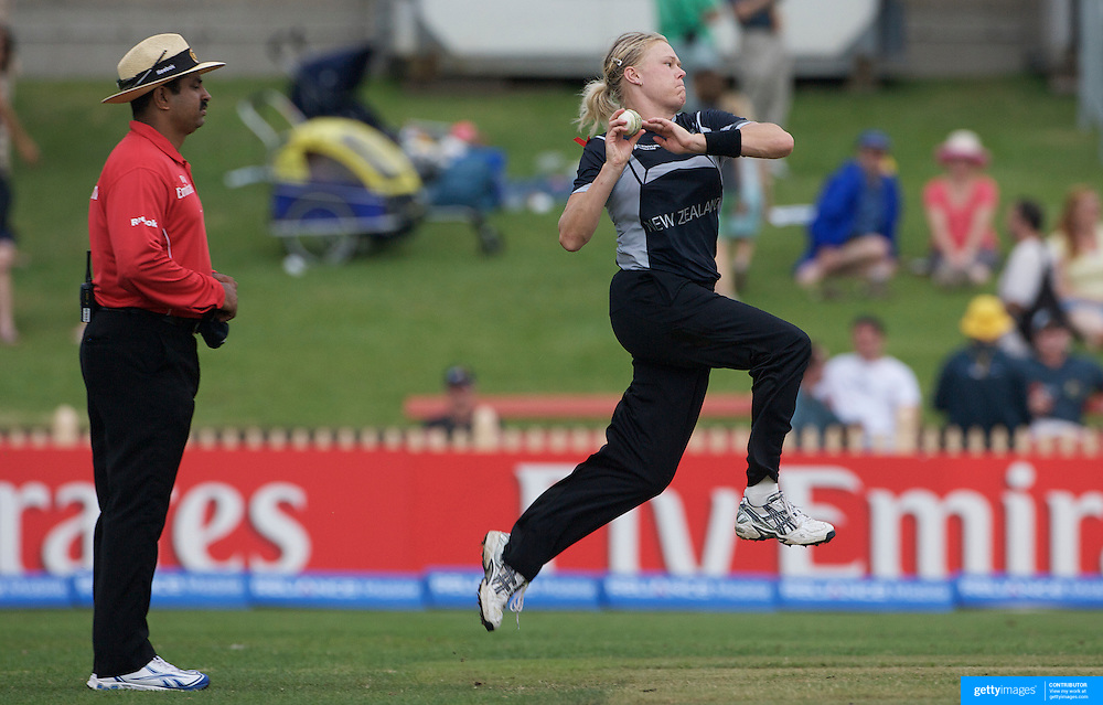 Kate Pulford of New Zealand bowling during the Australia V New Zealand group A match at North Sydney Oval in the ICC Women's World Cup Cricket Tournament, in Sydney, Australia on March 8, 2009. New Zealand beat Australia by 13 runs in the (D/L method)  rain affected match. Photo Tim Clayton