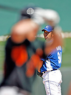 Kansas City Royals Hideo Nomo pitches in his last year in baseball in 2008 at a Spring Training game against the San Francisco Giants.  Royals won 14 to 6.
