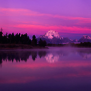 Mt. Moran and Oxbow Bend in pre-dawen light in Grand Teton National Park, WY.