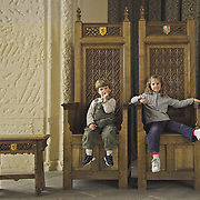 children playing on the thrones