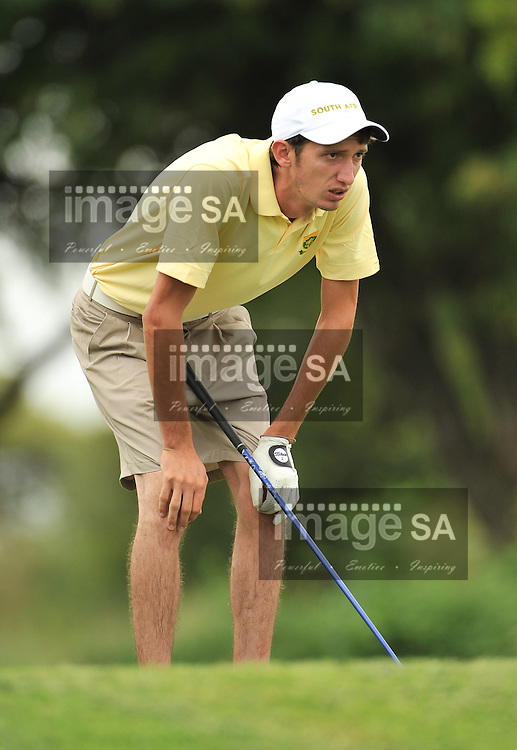 MALELANE, SOUTH AFRICA - Wednesday 18 February 2015, Matthew Spacey looks anxiously on the 9th during the first round foursomes of the annual Leopard Trophy, a two day test between teams of the South African Golf Association and the Scottish Golf Union, at the Leopard Creek Golf Estate.<br /> Photo Roger Sedres/ Image SA