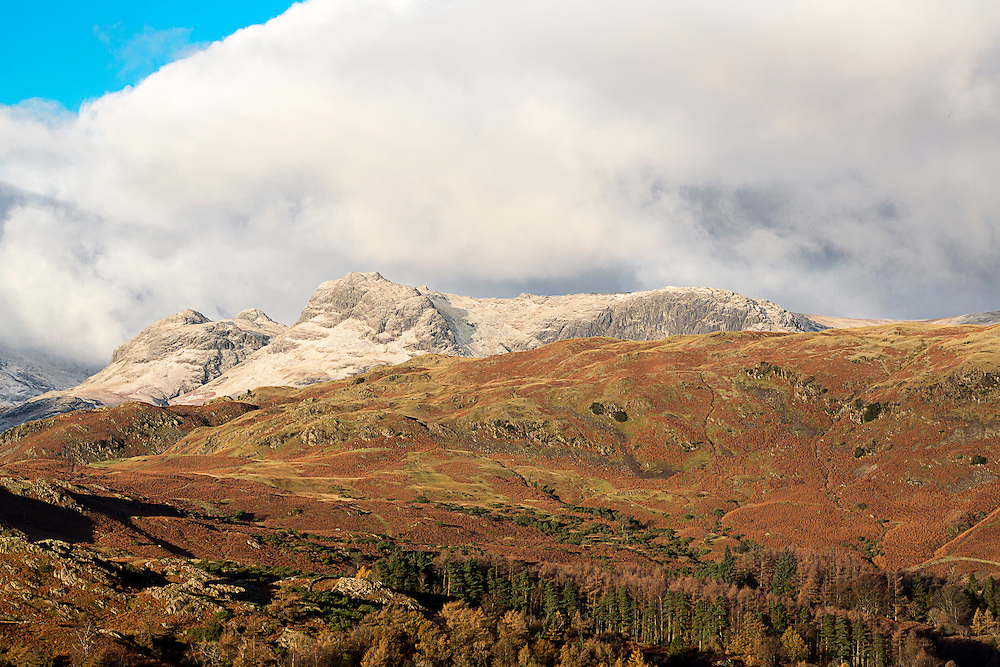 Early Morning Light on the snow dusted Langdale Pikes in the English Lake District.