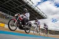 2016/06/08 - Bogotá, Colombia: Edwin Matiz, 23, in the middle, chances a motorbike during one of his training sessions at Salitre Sports Complex, Bogotá, 8th June, 2016. Paralympics Cyclists chase the motorbike in order to improve their times on the racetrack.  <br /> -<br /> Edwin has been practising Paralympic Cycling since he was 16 years old. At the age of 12, he lost his left hand while playing with an anti-personnel mine that was left on the side road by the guerrillas. The process of recuperation was long and difficult because his parents lacked financial resources. Through the help of some charities and foundations he was able to rehabilitate, mostly through the practice of cycling. After he finished high school, he started to focus 100 per cent of his time to the sport and he has managed to qualify for the Rio 2016 Paralympic Games. He dreams of a medal but he says that just to represent his country is already a good prize for now. (Eduardo Leal)