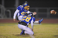 Oxford High's Cody Mills (29) kicks an extra point vs. Clarksdale in high school football action in Oxford, Miss. on Friday, November 4, 2011. Clarksdale won 20-17.