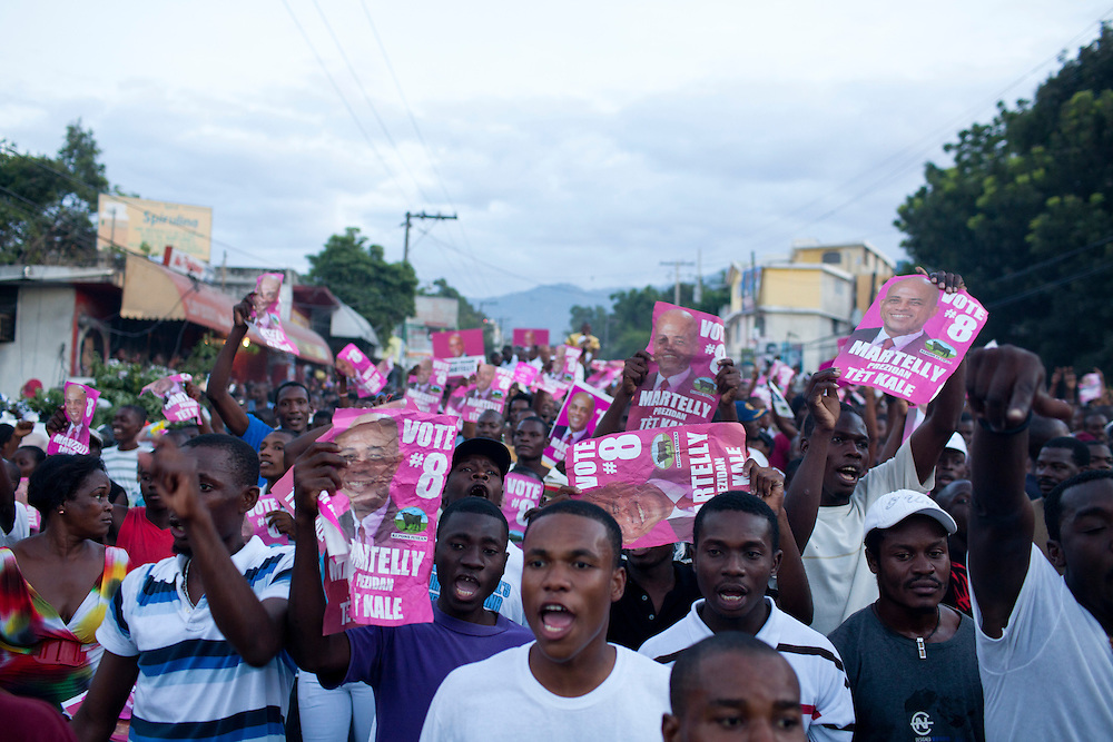 Supporters of Haitian presidential candidate Michel Martelly protest voting irregularities on November 28, 2010 in Port-au-Prince, Haiti.
