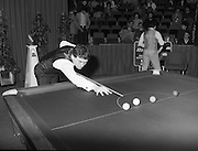 "The Benson and Hedges .Irish Masters Snooker..1984..28.03.1984..03.28.1984..28th March 1984..The championship was held at Goffs,Co Kildare. All the top names in snooker took part..Steve Davis,Jimmy White,Eddie Charlton,.Tony Knowles,Dennis Taylor,Tony Meo,.Alex Higgins,Ray Reardon,.Cliff Thorburn,Terry Griffiths,.Bill Werbeniuk and Eugene Hughes..The eventual winner was Steve Davis who beat Terry Griffiths 9 -1 in the final..Image as Jimmy White ""breaks"" to get the second frame underway, as Tony Meo gets a drink."