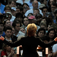 First Lady Hillary Clinton greets the audience after conceding her presidential candidacy at the National Building Museum in Washington DC., June 7, 2008.  Photo Ken Cedeno