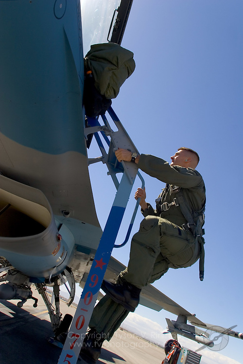 """Climbing aboard his F-16C Viper, """"Tazz"""" will begin his in-cockpit preflight checks. Each sortie will last between two to three hours with multiple engagements of Blue Force aircraft. MiG-6, as he will be known for this flight, has the ability to regenerate after each time being 'shot down'. Besides """"Tazz"""", Blue Air will also be forced to watch for SAM's, AAA fire and remote radar facilities."""