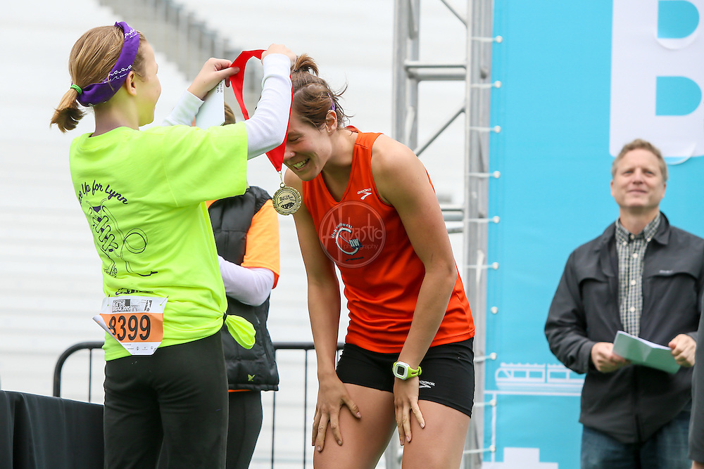 33rd Annual Nordstrom Beat the Bridge Run award winners - women's division winner.