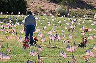 Woman Visiting Gravesite on Memorial Day, Santa Fe National Cemetery, New Mexico