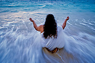 A cleansing ceremony with Bula Fogar at the edge of the ocean in Laie, Hawaii